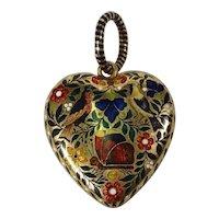 French Gold & Enamelled Heart Locket