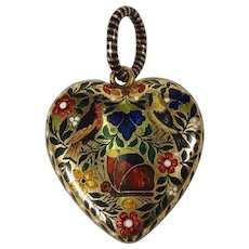 French Gold & Enamelled Heart Locket