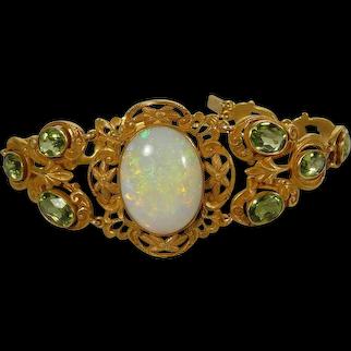 Art Nouveau Gold, Peridot, & Opal Bracelet