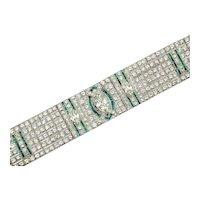Art Deco Emerald & Diamond Bracelet