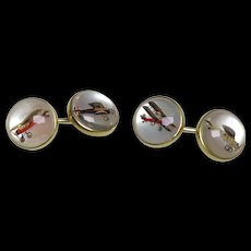 1930's Marcus Reverse Crystal Airplanes Cuff Links