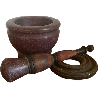 Antique 17th century Italian Grand Tour Egyptian Porphyry Marble Stone Urn Form Mortar & Pestle