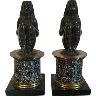 Pair Antique 19th c. French Bronze Egyptian Revival Pharaoh Figures Mounted on 18th c. Porphyry & Marble Pedestal Columns with Gilt Bronze Collars