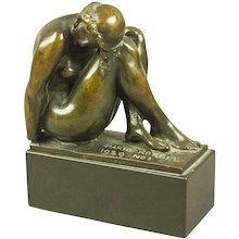 Bronze Art Deco Sculpture of a Woman in Repose by Mario Korbel (1882-1954) Roman Bronze Works New York 1929