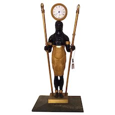 French Empire Directoire Gilt & Patinated Bronze Blackamoor Clock Bechet a Bordeaux c. 1800