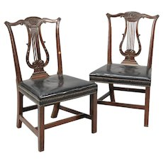 Set 4 George III Lyre Back Mahogany Chairs after Thomas Chippendale 1770