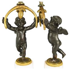 Louis XVI French Gilt Bronze & White Marble Putti Candelabra with Glass Hurricane Shades 18th century