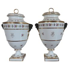 Large Pair Dihl et Guerhardt Old Paris Porcelain Fruit Cooler Urns Late 18th century