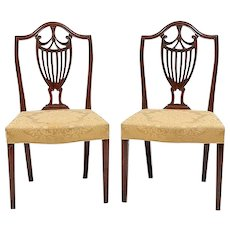 Pair George III English Adam Shield Back Mahogany Chairs with Urn Motif 18th century