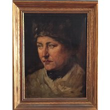 Russian Tsarist Portrait of a Young Man or Woman Oil on Canvas Stretched on Wood Frame 19th century
