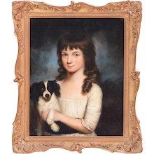 Pair English George III Portraits of Young Ladies & Spaniel Oil on Canvas 18th century