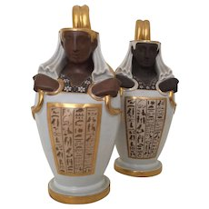 Pair Austrian Vienna Porcelain Egyptian Revival Canopic Jar Ewers 18th century
