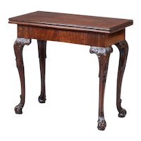 George III Carved Mahogany Concertina Action Games Table 18th century