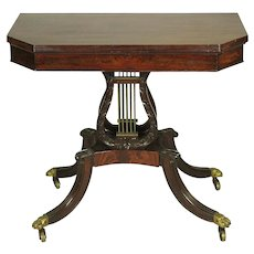 New York Classical Mahogany Lyre Base Card Table 1810