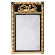 Irish Regency Gilt Wood & Ebonized Pier Mirror with Carved Hippocampus 1820