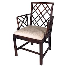 George III Chinese Chippendale Mahogany Arm Chair 18th century