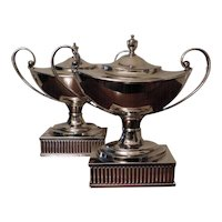 Pair Georgian Old Sheffield Trophy Urns on Stands 1790 - 1800