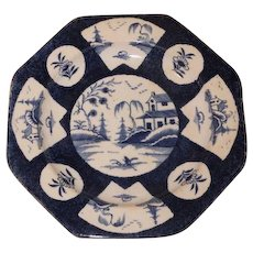 Collection 12 English Porcelain Plates in Powder Blue Glaze by Bow, Worcester & Isleworth 18th century