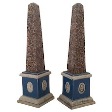 Pair English Prattware Pearlware Obelisks 18th century