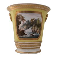 Derby Porcelain Flower Pot with Topographical Painting - In Athol, Scotland - 18th century