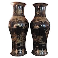 Large Pair Chinese Mirror Black Baluster Shaped Vases 19th century