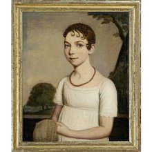 American Federal Portrait of Girl Wearing Coral Necklace Oil on Canvas