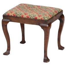 George I Walnut Stool with Needlepoint Cover 18th century