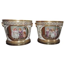 Large Pair Ormolu Mounted Paris Porcelain Cachepots or Planters Decorated with Reserves of Children Engaged in Domestic Life - Late 18th century