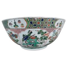 Large Chinese Kangxi Period Porcelain Famille Vert Punch Bowl