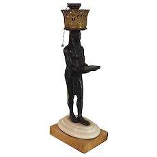 Regency Egyptian Revival Bronze Statue of Nefertem Standing on Sienna Marble as Lamp 19th century