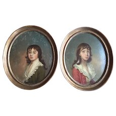Pair 18th century Family Portraits of Young Boys Joseph Wright (1756 - 1793) American / British