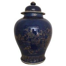 Large Chinese Porcelain Vase & Cover in Powder Blue Glaze 18th century