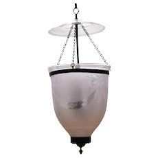 Regency Frosted & Cut Glass Hall Lantern 19th c.