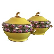 Pair Coalport Porcelain Yellow Soup Tureens & Platters 1805