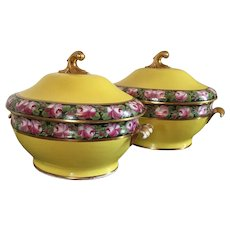 Pair Coalport Porcelain Yellow Soup Tureens & Platters 1805