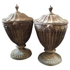 Pair English Regency Lead Garden Urns 19th c.