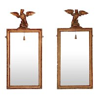 Pair Antique Early 19th century English George III Neoclassical Carved & Gilt Wood Pier Mirrors with Eagle Pediments