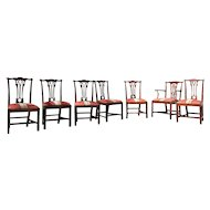 Seven English Chippendale  Chairs, Circa 1760-1800