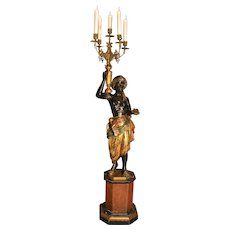 19th Century Italian Carved and Painted Blackamoor