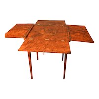 Continental Neoclassical Games Table in Amboyna Burl