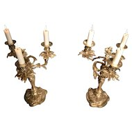 French Silver Plated Rococo Candelabras, Mid-19th Century