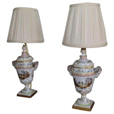 Faience urns as lamps