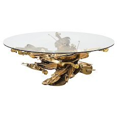 "Fernandez Arman, "" violons"" bronze sculpture coffee table"