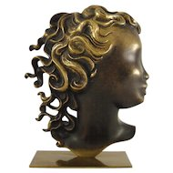 Brass Bust of a Woman's Head