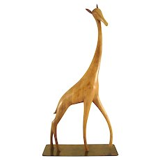 Standing Giraffe - carved wood - Karl Hagenauer