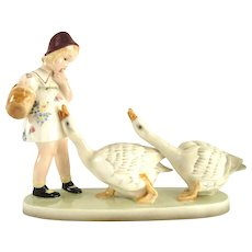 """Goose Girl"" - by Goldscheider Vienna, 1930s, porcelain figurine"