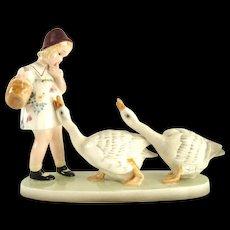 """""""Goose Girl"""" - by Goldscheider Vienna, 1930s, porcelain figurine"""