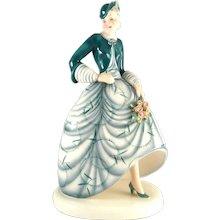 Lady in green with Flowers - Goldscheider Vienna, 1930s