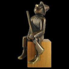 Hunter, having a break - Karl Hagenauer, 1945-1955 - Brass and wood
