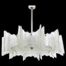 """J.T. Kalmar Frosted Glass """"Star"""" Chandelier, Austria, 1960s"""